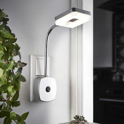 Chrom Wandleuchte Lampe (LED Steckerlampe Steckdosenlampe Licht Wandleuchte Nachtlicht P20 Chrom matt)