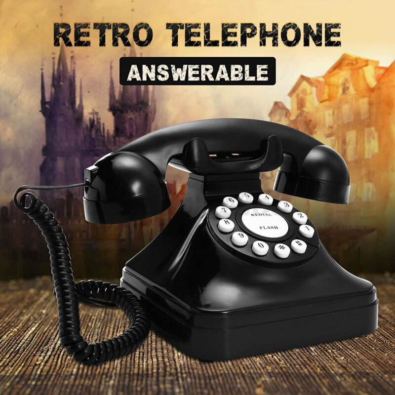Vintage Black Telephone Retro Phone Wired Cored Landline Desk Dial Phone Home