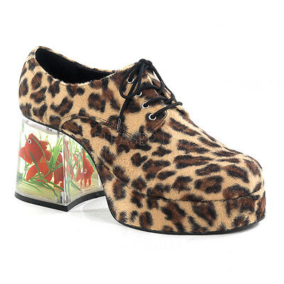 Goldfish Platform Shoes (PIMP02/BN/FUR Mens Retro Disco Faux Cheetah Platform Pimp Costume Goldfish)