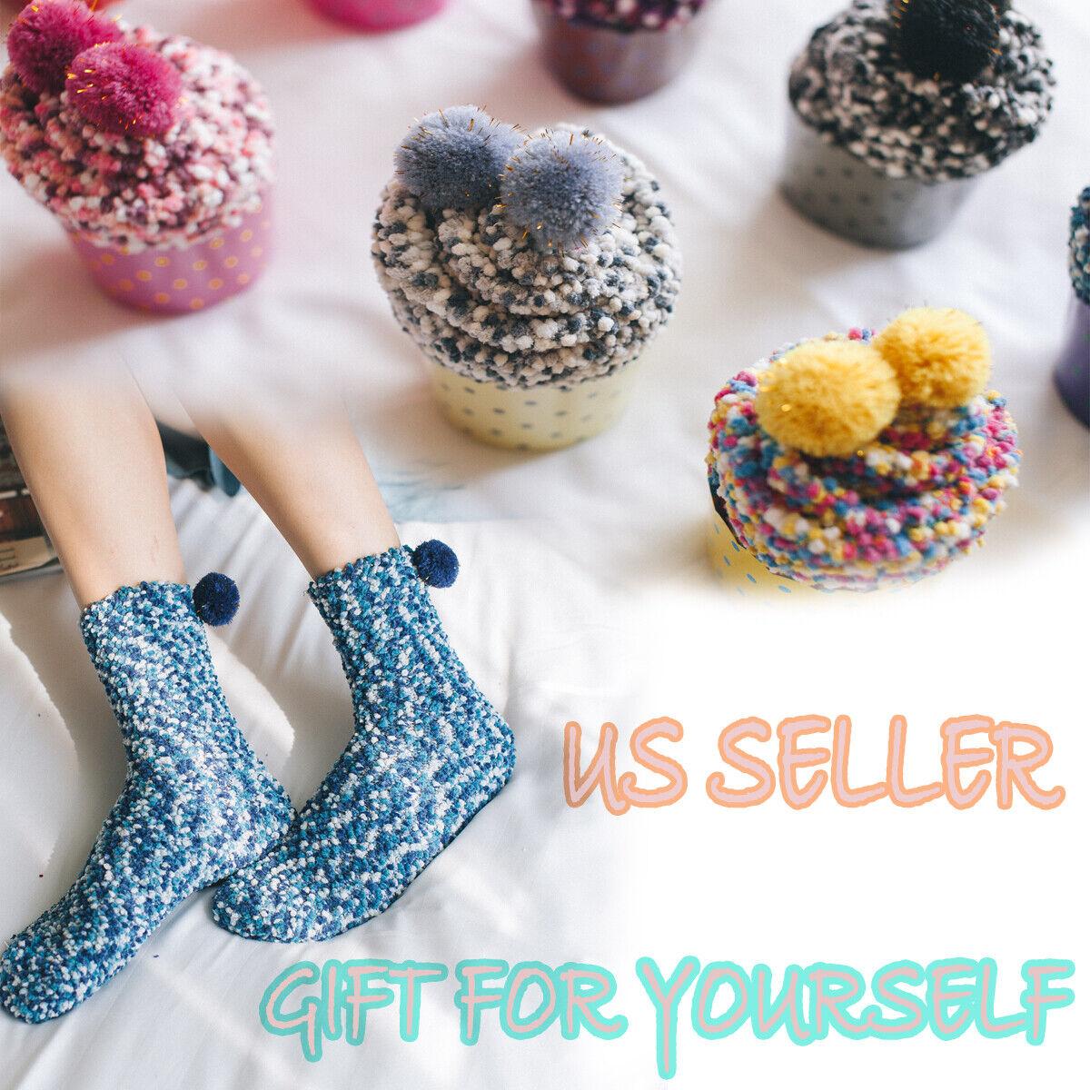 Women Sleeping Floor Socks Cupcake Soft Fluffy Cozy Winter W