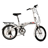 "20"" Folding Bike 6 Speed Bicycle Fold Storage Silver School Sports Shimano"