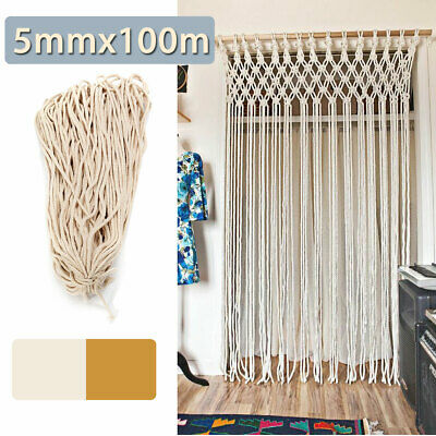 100M 5mm DIY Macrame Rope Natural Beige Cotton String Twisted Cord Hand Craft (Twisted Natural)