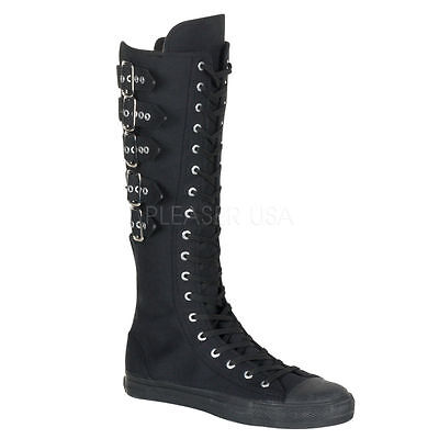Strap Calf Sneaker Boot (Demonia Deviant 310 Rare Ladies 5 Calf Buckle And Strap Knee Boots Sneakers)