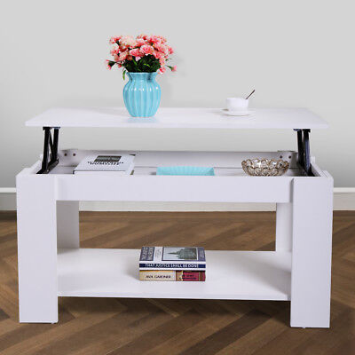 Wood Modern Lift Top Coffee Table with Storage Space Living Room Furniture White - Living Room Modern Table
