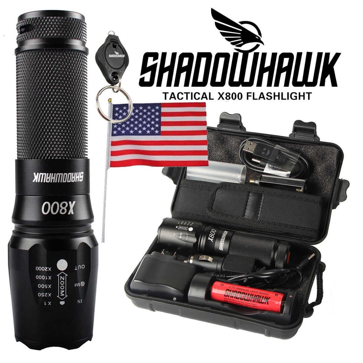 Купить Shadowhawk X800 - 20000lm Genuine Shadowhawk X800 Flashlight L2 LED Military Tactical Torch 18650