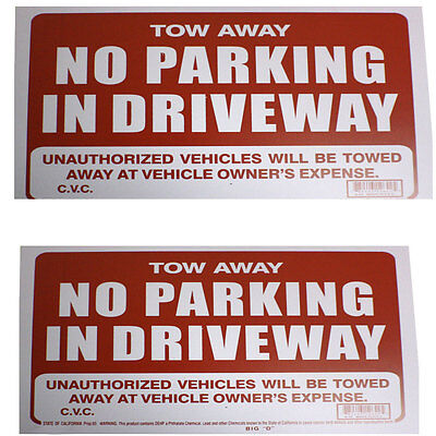 2 Pcs No Parking In Driveway 9 X 12 Tow Away Flexible Plastic Sign Bazic