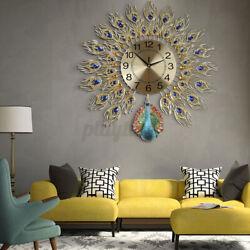Modern DIY Large Silent Wall Clock Flower Peacock Diamond Decor Home Room Decor