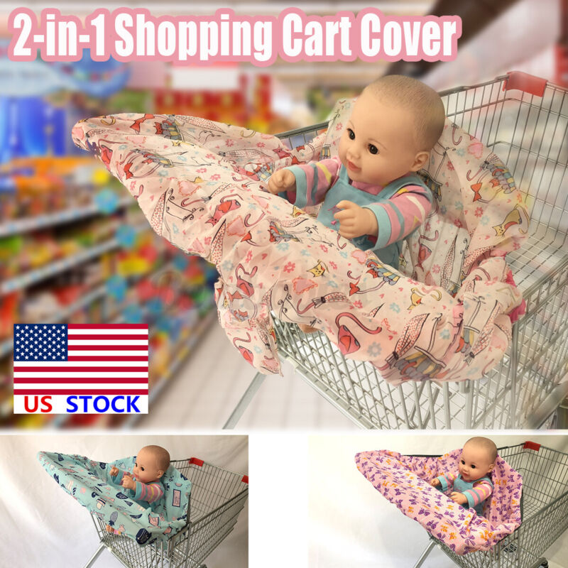 US 2-in-1 Baby Shopping Trolley Cart Cover Seat Kids High Chair Protector Mat
