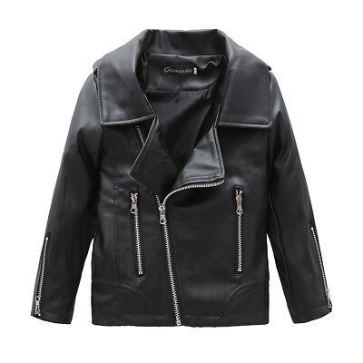 Kids Faux Leather Jacket Boys Girls Trendy Coat Toddler Fashion Motor Jacket - Boy Leather Jacket