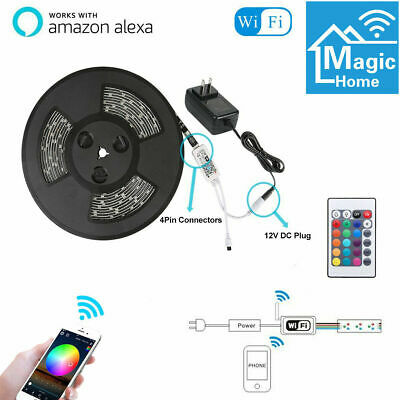 16.4ft Flexible Smart WiFi RGB IP65 LED Light Strip for Alexa Amazon Google