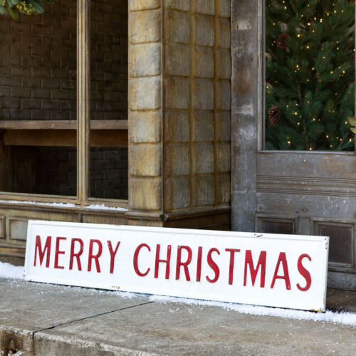 """Merry Christmas Sign 61"""" White Red Metal Embossed"""