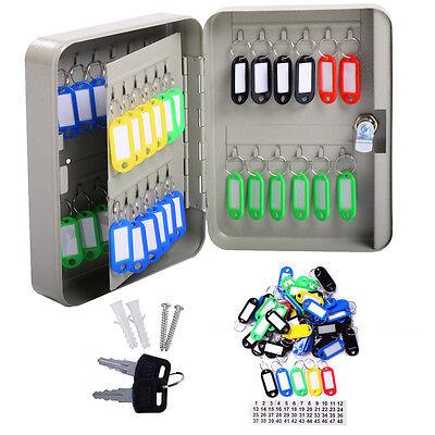 48 Metal Safe Hook Key Box Wtag Home Car Lock Storage Case Cabinet Wall Mount