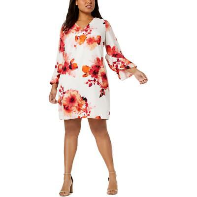 Calvin Klein Womens White Floral Bell Sleeve Party Dress Plus 20W BHFO 4946