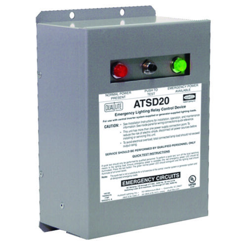 HUBBELL ATSD20 EMERGENCY LIGHTING TRANSFER SWITCH DEVICE, 20-AMP, 120/277-VOLT