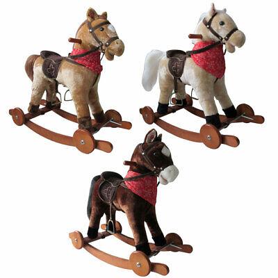 Schaukelpferd mit Rollen Holz Plüsch Schaukel Pferd Kinder NEU