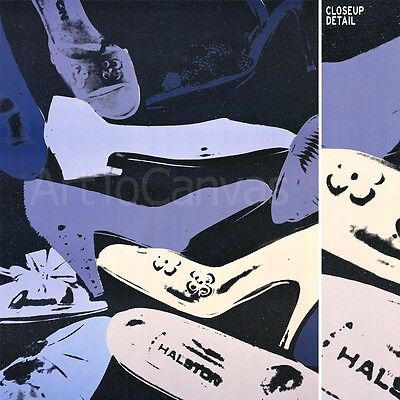 """30W""""x48H"""" DIAMOND DUST SHOES, 1980-1 by ANDY WARHOL BLUE GREY HEELS Repro CANVAS"""