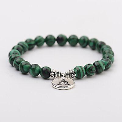 Women Men Chakra Mala OM Lotus Buddha Bracelets Malachite Stone Strand Bracelets Malachite Strand Bracelet