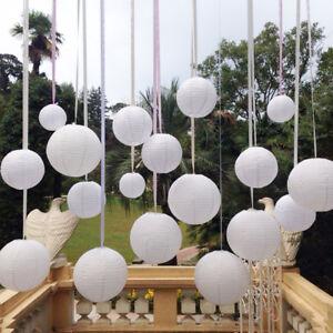 10pc White Round Paper Lantern Wedding Lamp Shade Grad Party Ceiling Decor 10