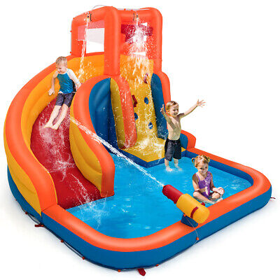 Inflatable Splash Water Bouncer Slide Bounce House w/ Climbing Wall & Water -