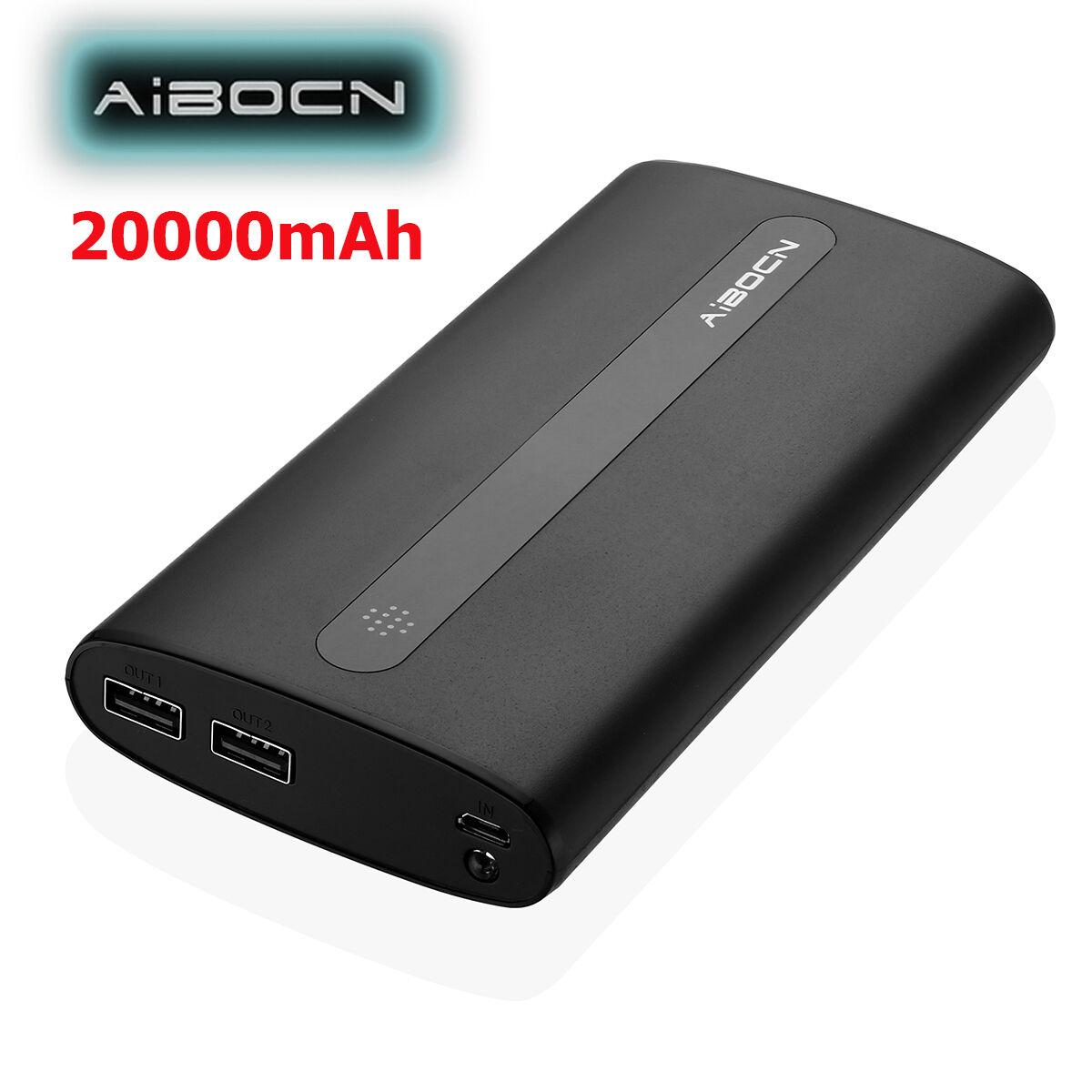 Aibocn 20000mAh Dual USB Power Bank Portable Cell Phone Char