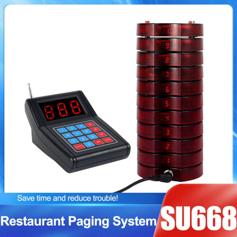 SU668 Restaurant Wireless Paging System 1*Transmitter+10*Pager Food Court Queue