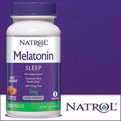 Natrol Melatonin 5 mg Sleep Aid 250 Fast Dissolve Tablets (Strawberry Flavor)