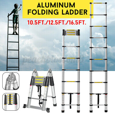 16.5ft Folding Aluminum Telescopic Extension Ladder Multi-use Non-slip