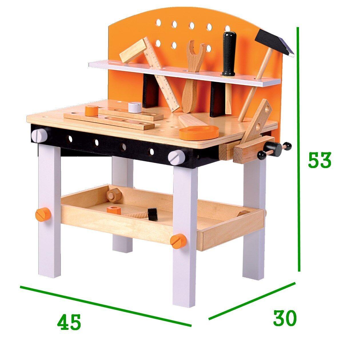 Werkbank aus Holz mit Werkzeug für Kinder Holzwerkbank Kinderwerkbank  Spielzeug