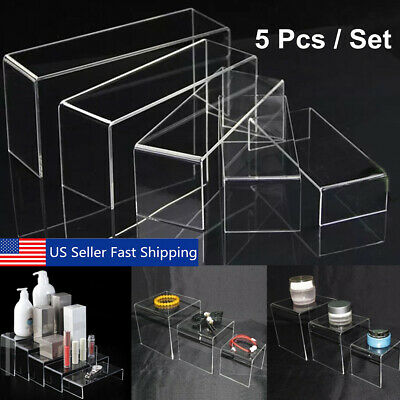 5pcs Set Acrylic Clear Perspex Sturdy Jewellery Display Riser Stand Showcase