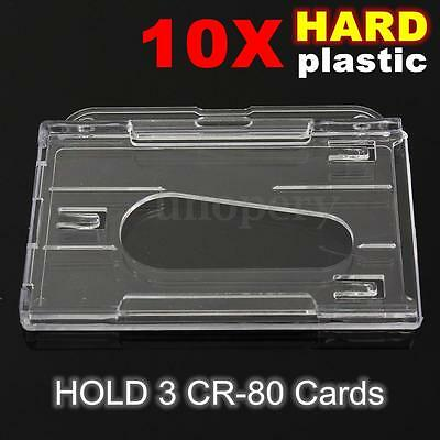 10x Horizontal Hard Plastic Transparent Id Card Holder Clear Badge Id Cover