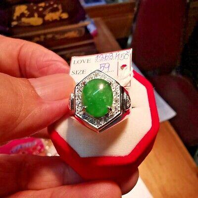 Natural Genuine Type A Green Jade jadeite Loose Gemstone 925 Silver Ring