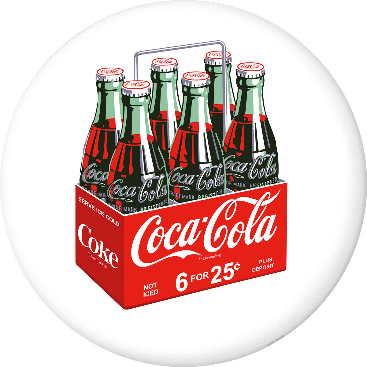 Coca-Cola 6 Pack Bottles Disc White Removable Wall Decal But