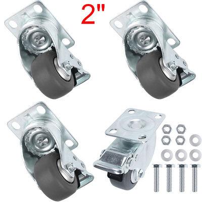 4pcs 2 Heavy Duty Steel Plate Cast Iron Casters Swivel Metal Industrial Wheel