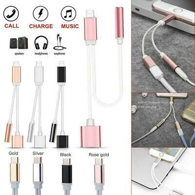 2 IN 1 Lightning Charging & 3.5mm Audio Dual Cable Adapter For iPhone 7 8 Xs max