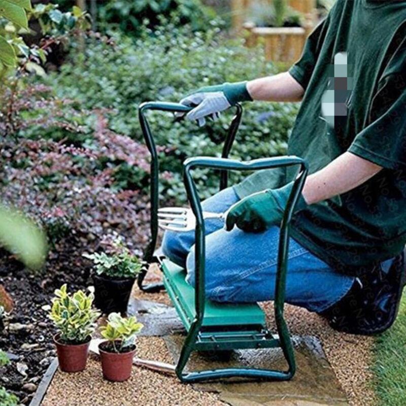 Garden Kneeler and Seat Foldable Garden Bench w/ EVA Kneeling Pad Tool Pouch