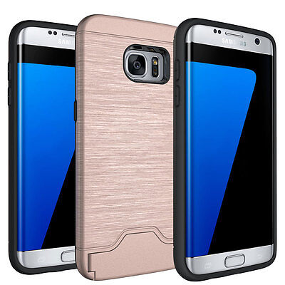 Rose Gold Shockproof Armor Kickstand Case For Samsung Galaxy S7 Edge Card Holder