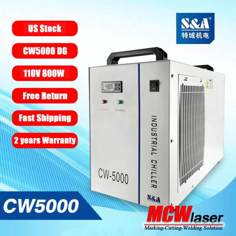 S&A Genuine CW-5000 DG 110V  Water Chiller Cool 80W 100W CO2 Laser Tube US Stock