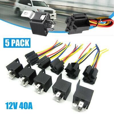 5x 12v Spdt Car Automotive Relay 5-pin 5 Wires Harness Socket Jd1914 3040 Amp