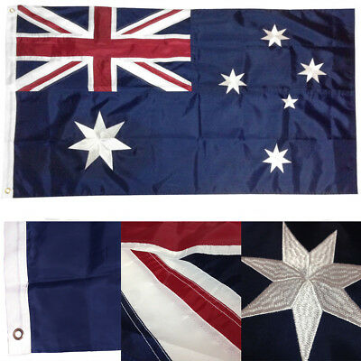 3x5 Embroidered Australia Australian 210D Sewn Nylon Flag 3'x5' w/ Clips