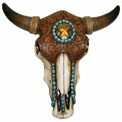 Western Decore (Bull Skull with Tooled Leather Design Decor - Western Cowboy Rustic)