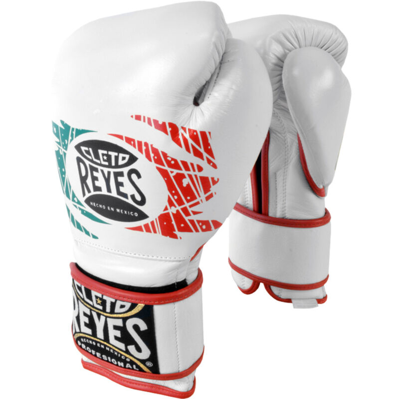 Cleto Reyes Hook and Loop Leather Training Boxing Gloves - 12 oz - Mexican Flag
