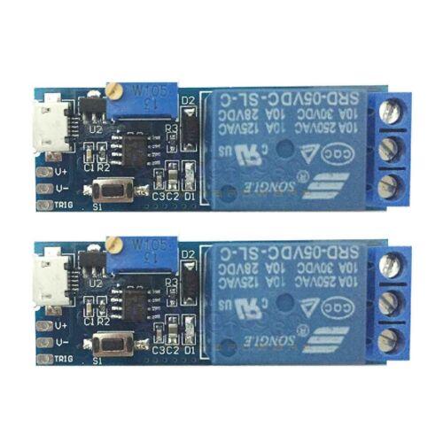 2 pcs Wide voltage 5V~30V trigger delay relay module timer module