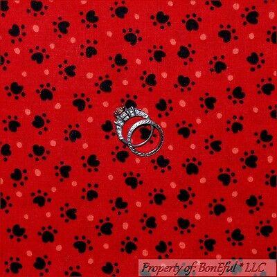 I Spy Costume (BonEful Fabric FQ Cotton Quilt Red Black Dot Paw Print US Bandanna Puppy Dog)