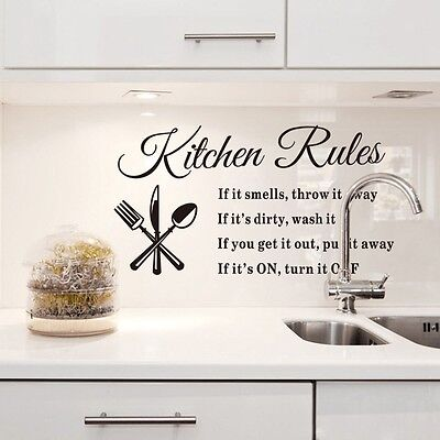 DIY Removable Art Quote Wall Sticker Decal Home Mural Decor Kitchen Rules NEW