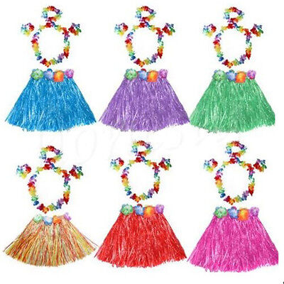 Kids Hawaiian Grass Hula Lei Skirt Flower Wristband Garland Fancy Costume - Lei Costume