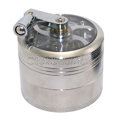 4 layer Zinc Alloy Hand Crank Herb Mill Crusher Tobacco Smoke Grinder