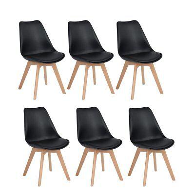 6 Esszimmerstuhl aus Holz Beine Retro Kunstleder Esszimmer Wohnzimmer Stuhl Schw (Esszimmer Stuhl, Moderne)