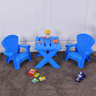 Blue Childrens Furniture - Plastic Children Kids Table & Chair Set 3-Piece Play Furniture In/Outdoor Blue