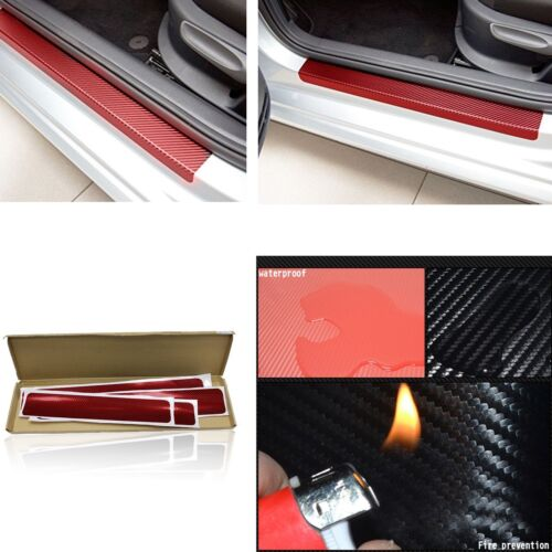 4x Universal Red 3D Red Auto Car Door Door Sill Step Scuff Plate 2 front +2 rear