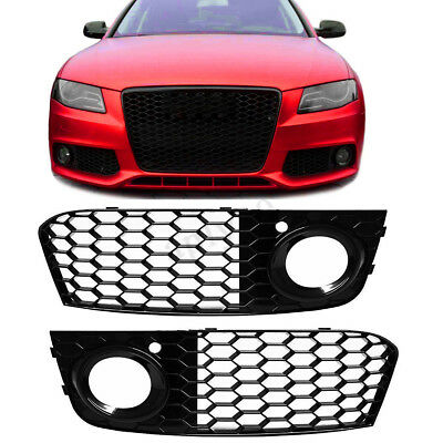 2x Front Bumper Fog Light Mesh Grill Grille RS4 Style For AUDI A4 B8 2009-2012